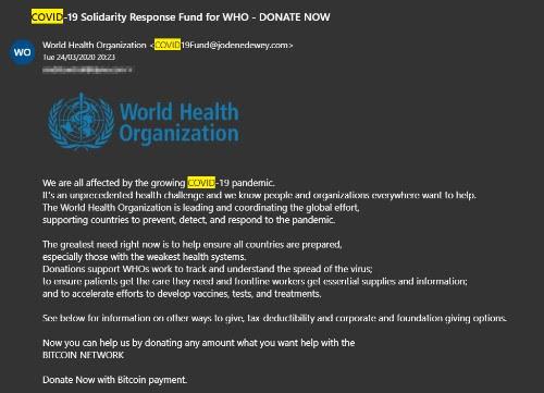 Estafa a nombre de la Organización Mundial de la Salud
